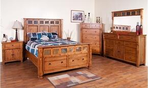 Sedona Collection 2322ROQBDM2NC 6-Piece Bedroom Set with Queen Bed, Dresser, Mirror,  2 Nightstands and Chest in Rustic Oak Finish