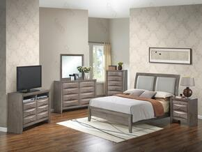 G1505AQBCHDMNTV2 6 Piece Set including Queen Size Bed, Chest, Dresser, Mirror, Nightstand and Media Chest  in Gray.