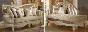 Grace 687-S-CH 2 Piece Living Room Set with Sofa and Chaise in Pearl White Color