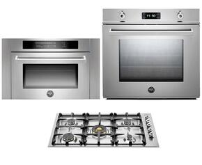 "Professional 3-Piece Stainless Steel Kitchen Package with F30PROXE 30"" Single Electric Wall Oven, QB36500X 36"" Gas Cooktop and SO24PROX Built In Microwave"