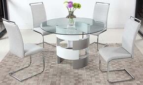 Sunny Collection SUNNY-5PC Dining Room Set with Dining Table + 4 Side Chairs in White and Grey