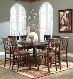 Leahlyn Collection 9-Piece Dining Room Set with Dining Room Counter Table and 8 Barstools in Medium Brown
