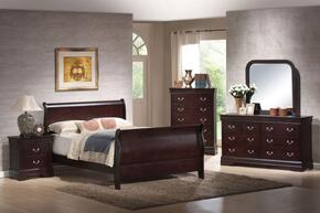Louis Philippe Collection 203981NQSET 5 PC Bedroom Set with Queen Size Sleigh Bed + Dresser + Mirror + Chest + Nightstand in Cappuccino Finish
