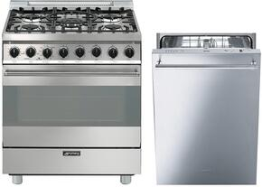 "2-Piece Stainless Steel Kitchen Package with C30GGXU1 30"" Freestanding Gas Range and STU8649X 24"" Fully Integrated Dishwasher"