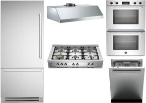 "5-Piece Stainless Steel Kitchen Package with REF36PIXL 36"" Bottom Mount Refrigerator, CB36600X 36"" Gas Cooktop, MASFD30XT 30"" Electric Double Wall Oven, KU36PRO1XV 36"" Wall Mount Hood, and DW24XT 24"" Fully Integrated Dishwasher"