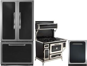 """3-Piece Black Kitchen Package with HCFDR23BLK 36""""  French Door Refrigerator, 5210CDGBLK 48"""" Freestanding Dual Fuel Range, and HCTTDWBLK 24"""" Fully Integrated Dishwasher"""