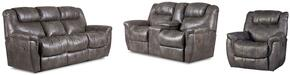 Montgomery Collection 216430314SLR 3-Piece Living Room Set with Sofa, Loveseat and Recliner in Padre Grey