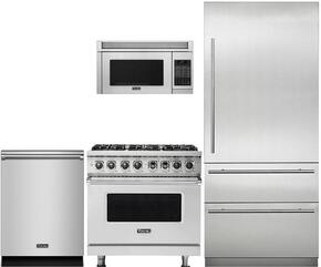 "4-Piece Stainless Steel Kitchen Package with VCRB5303LSS 36"" All Refrigerator, VDR5366BSS 36"" Dual Fuel Range, VMOR205SS 24"" Over the Range Microwave, and FDW302WS 24"" Fully Integrated Dishwasher"