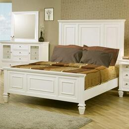 Sandy Beach Collection 201301KWSET 5 PC Bedroom Set with California King Size Panel Bed + Dresser + Mirror + Chest + Nightstand in White Finish