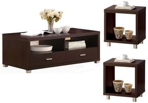 Redland 06612CE 3 PC Living Room Table Set with Coffee Table + 2 End Tables in Espresso Finish