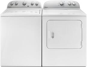 "White Top Load Laundry Pair with WTW4816FW 28"" Washer and WED4985EW 30"" Electric Dryer"