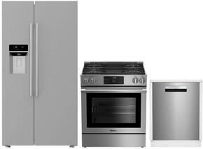 "3-Piece Kitchen Package with BSBS2230SS 36"" Side by Side Refrigerator, BGR30420SS 30"" Slide In Gas Range, and a free DWS55100SS 18"" Built In Fully Integrated Dishwasher in Stainless Steel"