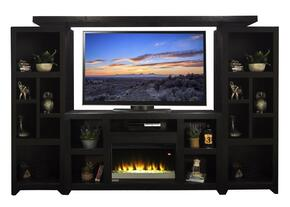 "Skyline SK5201TVC2PCB 4-Piece Entertainment Center with 62.06"" Wide Fireplace T.V. Console, 2 Pier Cabinets and Bridge in Mocha Finish"