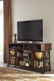 "Vinasville W5526801 60"" Wide LG TV Stand and Wood Burning Flame Effect Fireplace Insert in Warm Medium Brown Finish"