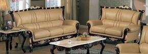 992S2SET Traditional 2 Piece Livingroom Set, Sofa and Loveseat in Khaki with Mahogany Wood Finish and Gold Leaf Trim