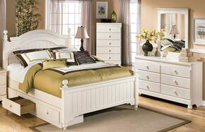 Burton Collection Full Bedroom Set with Poster Bed with Underbed Storage, Dresser, Mirror and Chest in Cream