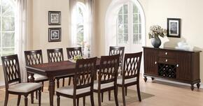 Sophia SOPTABSER8CHR Dining Set Including Dining Table, 8 Chairs and Server with Carved Detailing and Turned Legs