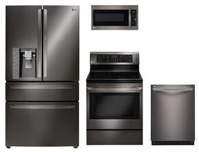 "4 Piece Black Stainless Steel Kitchen Package With LRE3083BD 30"" Electric Freestanding Range, LMV2031BD 30"" Over The Range Microwave Oven, LMXS30776D 36"" French Door Refrigerator and LDF7774BD 24"" Fully Integrated Dishwasher"