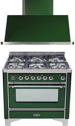 "2-Piece Emerald Green Kitchen Package with UM906DVGGVSX 36"" Freestanding Gas Range (Chrome Trim, 6 Burners, Timer) and UAM90VS 36"" Wall Mount Range Hood"