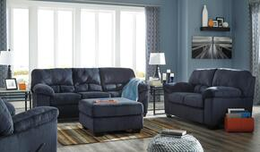 Jacqueline Collection MI-7490SLRO-MBLU 4-Piece Living Room Set with Sofa, Loveseat, Recliner and Ottoman in Midnight Blue
