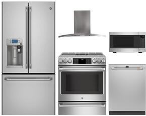 "5-Piece Stainless Steel Kitchen Package with CYE22USHSS 36"" French Door Regfrigerator, CHS985SELSS 30"" Slide In Electric Range, PV970NSS 30"" Wall Mount Hood, CEB1599SJSS 22"" Countertop Microwave, and CDT835SSJSS 24"" Fully Integrat"