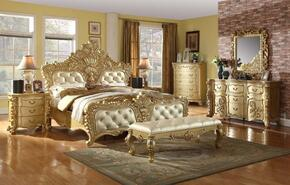 Zelda Collection ZELDAKPBDM2NC 6-Piece Bedroom Set with King Panel Bed, Dresser, Mirror, 2 Nightstands and Chest in Gold