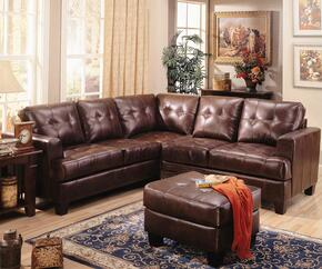 Samuel 500911SSO 2-Piece Living Room Set with Sectional Sofa and Ottoman in Dark Brown