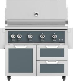 """42"""" Freestanding Natural Gas Grill with GCR42DG Tower Grill Cart with Double Drawer and Door Combo, in Pacific Fog Dark Gray"""