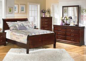 Huerta Collection Full Bedroom Set with Sleigh Bed, Dresser, Mirror and Chest in Dark Brown