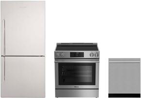 "3-Piece Kitchen Package with BRFB1812SSN 30"" Bottom Freezer Refrigerator, BERU30420SS 30"" Freestanding Electric Range, and a free DWT55300SS 24"" Built In Fully Integrated Dishwasher in Stainless Steel"