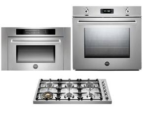 "Professional 3-Piece Stainless Steel Kitchen Package with F30PROXE 30"" Single Electric Wall Oven, DB36600X 36"" Gas Cooktop and SO24PROX Built In Microwave"