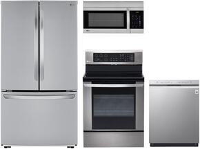 "4 Piece Stainless Steel Kitchen Package With LRE3061ST 30"" Electric Range, LMV1683ST 30"" Over The Range Microwave, LFCS25426S 36"" French Door Refrigerator and LDF5545ST 24"" Built In Dishwasher"
