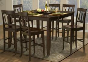 4500611ACCC Style 19 Seven Piece Counter Height Dining Room Set with Table and Six Abbie Chairs, in Espresso