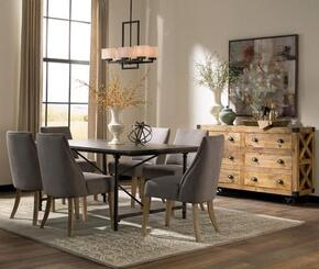 Antonelli Collection 106461G 8 PC Dining Room Set with Dining Table + 4 Grey Color Side Chairs + Accent Cabinet in Natural and Dark Bronze Finish