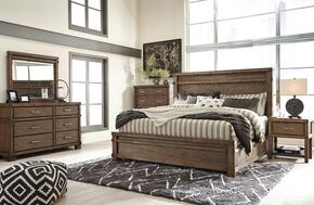 Leystone Queen Bedroom Set with Panel Bed, Dresser, Mirror, 2x Nightstands and Chest in Dark Brown