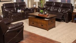 2032630SCHSLG Galaxy 3 Piece Manual Recline Living Room Set with Sofa, Loveseat and Glider Recliner, in Chocolate