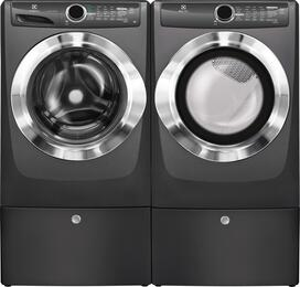 "Titanium Front Load Laundry Pair with EFLS517STT 27"" Washer, EFME517STT 27"" Electric Dryer and 2 EPWD157STT Pedestals"
