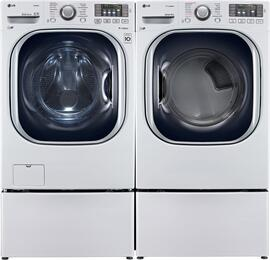 "White Front Load Laundry Pair with WM4370HWA 27"" Washer, DLEX4370W 27"" Electric Dryer, and 2 WDP4W Laundry Pedestals"