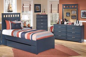 Leo Twin Bedroom Set with Panel Bed, Dresser and Mirror in Blue