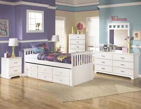 Lulu Twin Bedroom Set with Trundle Bed, Dresser, Mirror, 2 Nightstands and Chest in White
