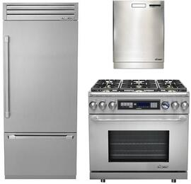 "3-Piece Stainless Steel Kitchen Package with DYF36BFTSR 36"" Bottom Freezer Refrigerator, ER36DCNG 36"" Freestanding Dual Fuel Range, and a free RDW24S 24"" Built In Fully Integrated Dishwasher"