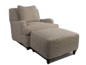 Seacoast Collection SU-116420-30-466082 Slipcovered Chair and Ottoman in Linen