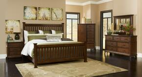 Estes Park 4364KPOSTERNCDM 5-Piece Bedroom Set with King Poster Bed, Nightstand, Door Chest, Dresser and Mirror in Artisan Oak Finish