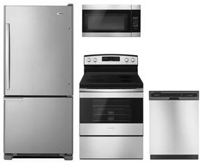 "4-Piece Kitchen Package With ABB1921BRM 30""  Bottom Freezer Refrigerator, AER6603SFS 30"" Freetanding Electric Range, AMV2307PFS 30"" Over the Range Microwave Oven and ADB1400AGS24"" Built In Dishwasher in Stainless Steel"