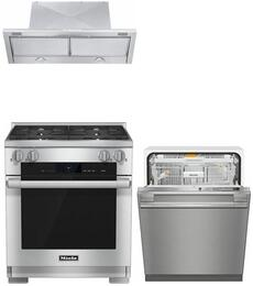 """3-Piece Stainless Steel Kitchen Package with HR1924DFLP 30"""" Freestanding Dual Fuel Range, DA3486 30"""" Under Cabinet Hood, and G6565SCVISF 24"""" Fully Integrated Dishwasher"""
