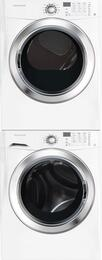"White Front Load Laundry Pair with FFFS5115PW 27"" Washer, FFSE5115PW 27"" Electric Dryer and STACKIT4X Stacking Kit"