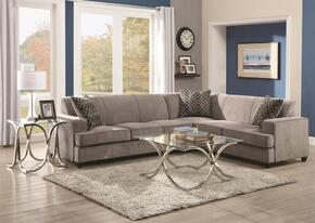 Tess Collection 500727SET 3 PC Sectional Sofa Set with Sectional + End Table + Coffee Table in Grey Color