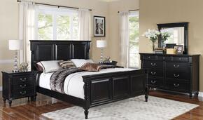 00222EBDMNN Martinique 5 Piece Bedroom Set with King Bed, Dresser, Mirror, Nightstand and Chest, in Rubbed Black