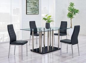 D368DT5PCSET 5 Piece Glass Dining Room Set in Black, Table + 4 Chairs