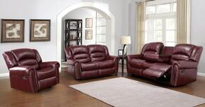 Chelesa 686-S-L-C 3 Piece Living Room Set with Sofa + Loveseat and Chair in Burgundy